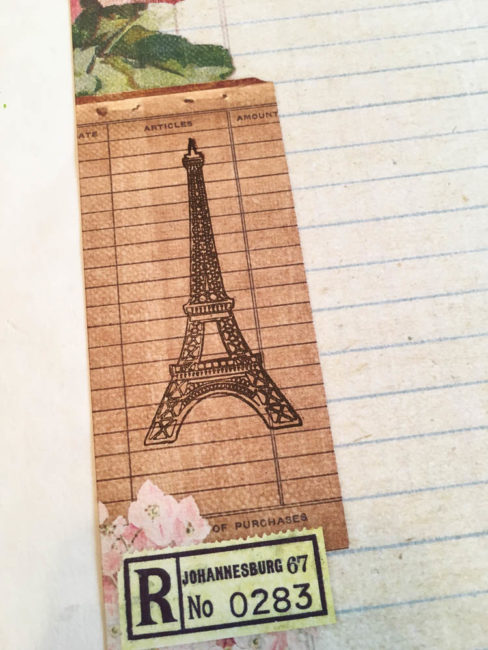 eiffel tower stamp on paris scrapbook layout background
