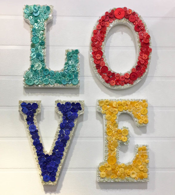 LOVE button wall art