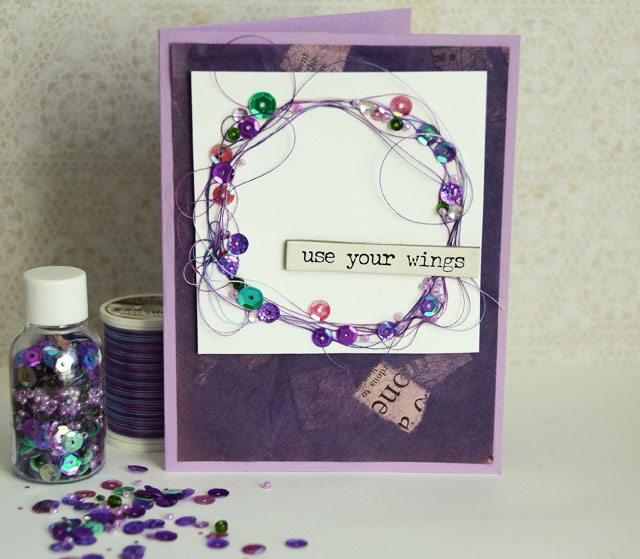 Use Your Wings Card by May Flaum using 28 Lilac Lane Bead & Sequin Mixes