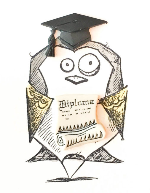 Crazy Bird Grad Card close-up