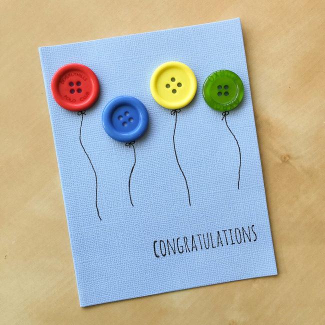 Congratulations Button Balloon Card