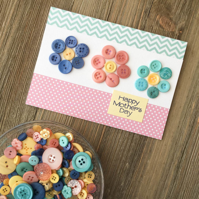 Button Flower Card for Mother's Day