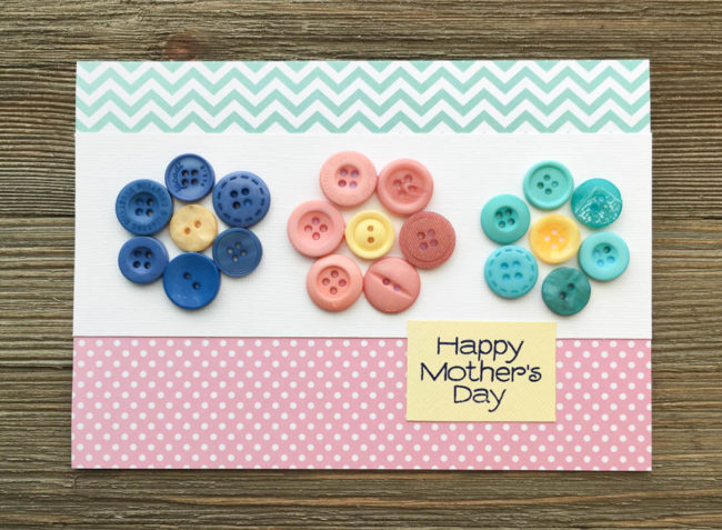 Button Flower Card for Mothers Day