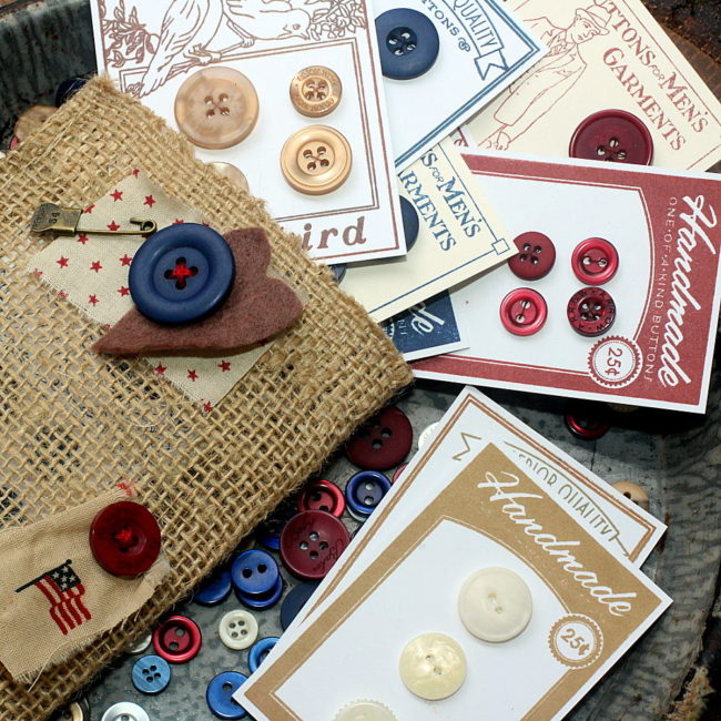 faux vintage button cards with tote