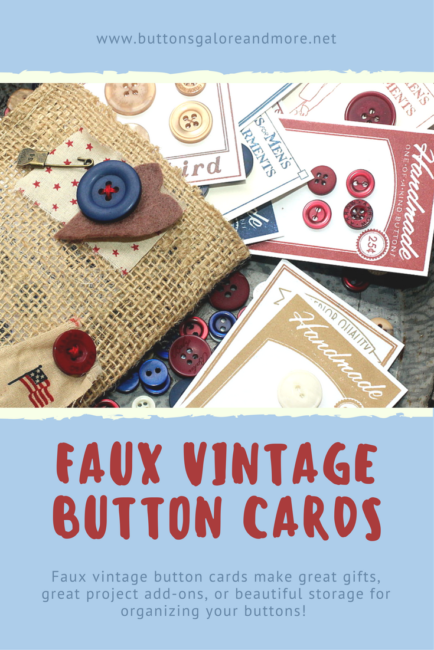 Faux Vintage Button Cards in a tote - great for gift giving, storage, or using right on mixed media and paper craft projects!