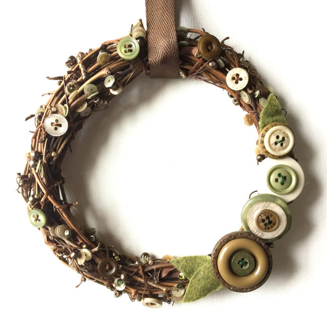 rustic vine wreath with buttons and embellishments from 28 Lilac Lane by Anaya Whye