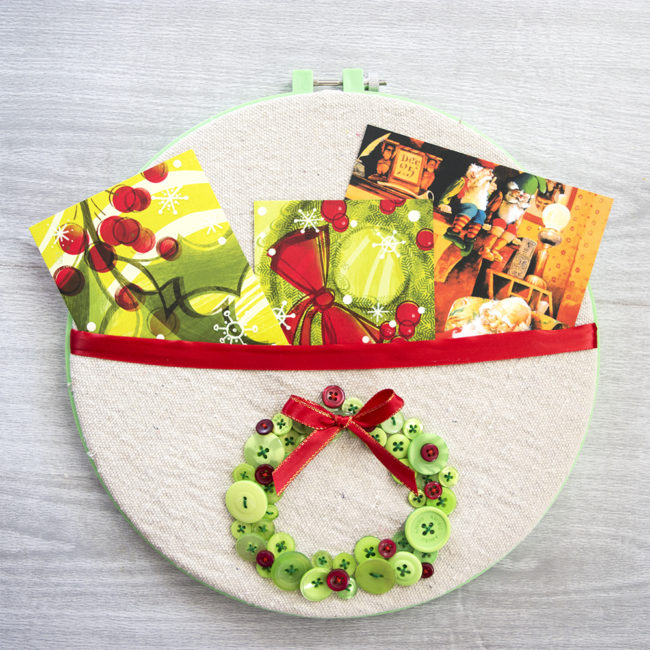 Christmas in July Embroidery Hoop Card Holder