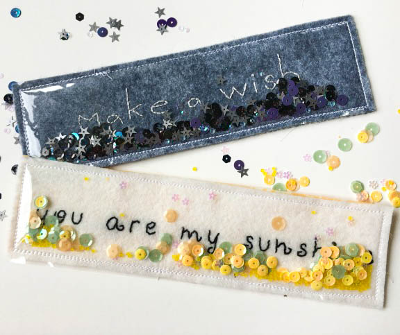 sequin filled bookmarks