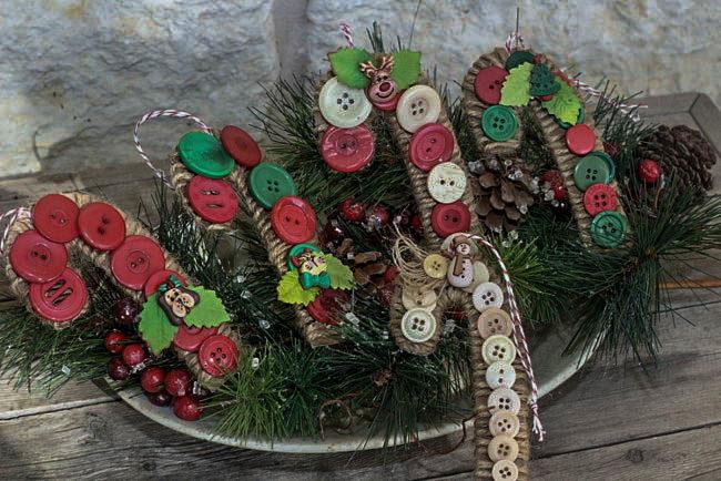 DIY candy cane ornaments