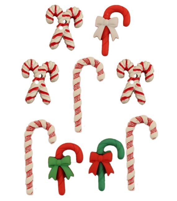 3D Candy Cane Buttons