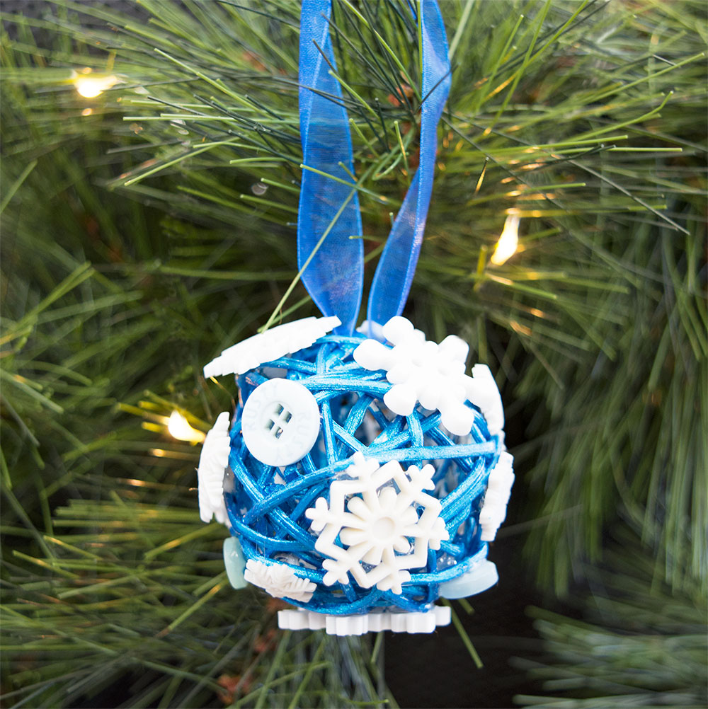 Make DIY Sparkling Snowflake Ornaments With 3D Buttons