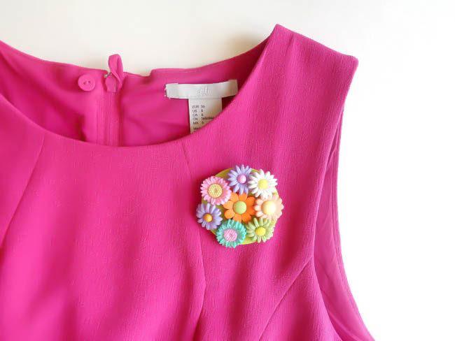DIY Flower Button Brooches