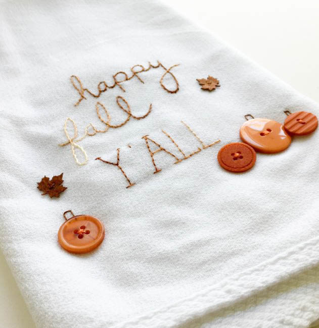 DIY fall tea towel