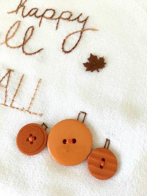 DIY Fall tea towel close up