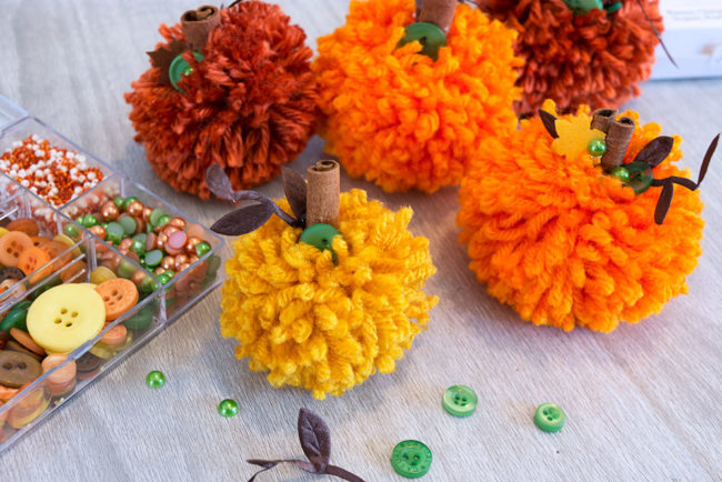 Autumn Afternoon Button Embellishments on the Pom Pom Pumpkins