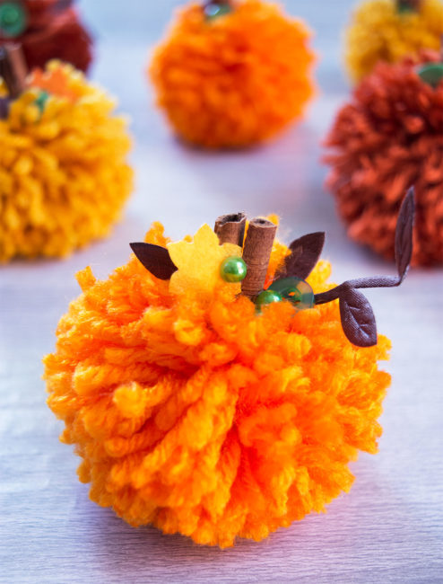 Make cute Pom Pom Pumpkins with Cinnamon Sticks and Autumn Afternoon Embellishments from 28 Lilac Lane