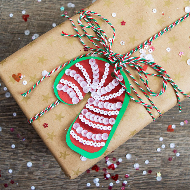 Sequin Christmas Candy Cane Gift Tags