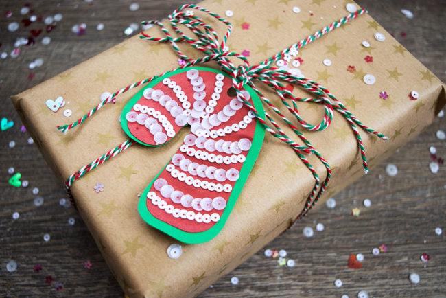 Candy Cane Sequin Christmas Gift Tag