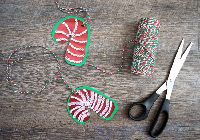 Candy Cane Sequin Gift Tags