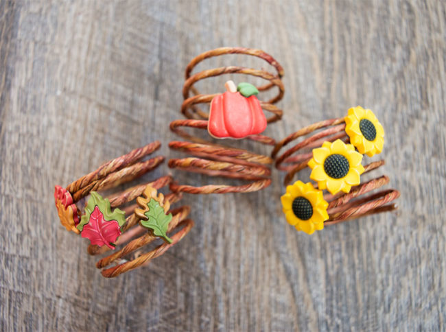 Thanksgiving wire napkin rings with fall friends buttons