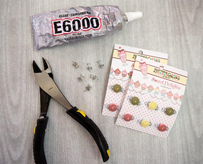 Candy Treats Button Earring Supplies