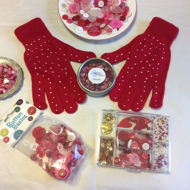 Mini Craft Flower Buttons Red Sewing Doll Card Scrapbook Flower Craft