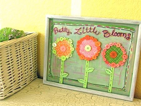 Pretty Button Flower Wall Decor